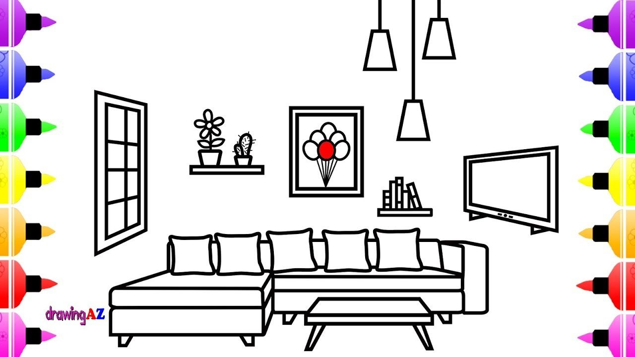 How To Draw A Living Room For Kids Coloring Page For Kids Learn Colors Easy Drawings Flower Drawing For Kids