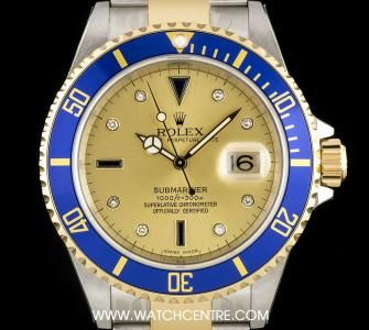 #Rolex Steel & Gold Unworn Champagne #Serti Dial #Submariner Date B&P #16613
