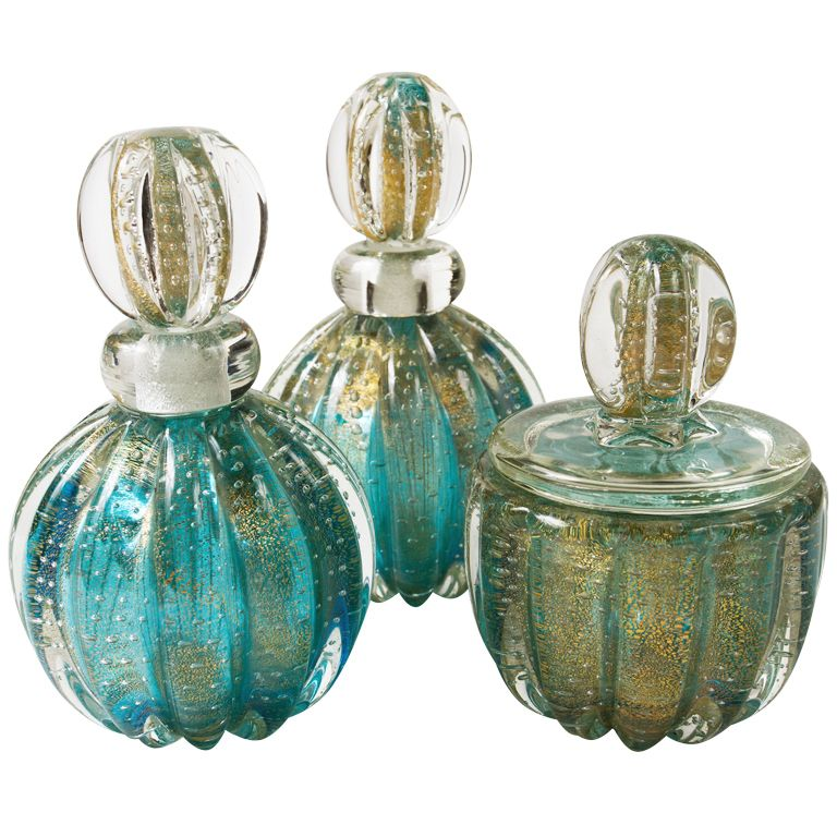 Murano glass with gold flecks perfume bottles, Venice, Italy