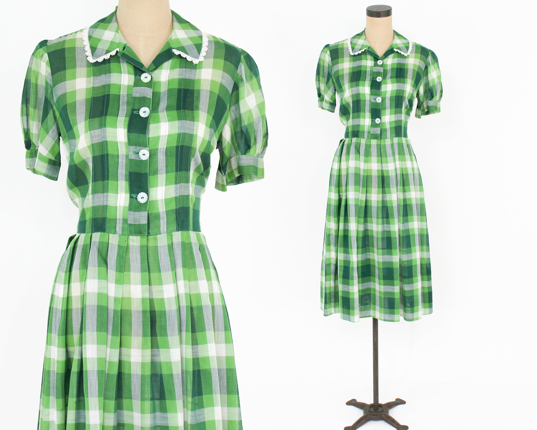 50s Green Plaid Dress Green Plaid Cotton Shirtwaist Dress Etsy Green Plaid Dress Cotton Dress Summer Green Dress [ 2400 x 3000 Pixel ]