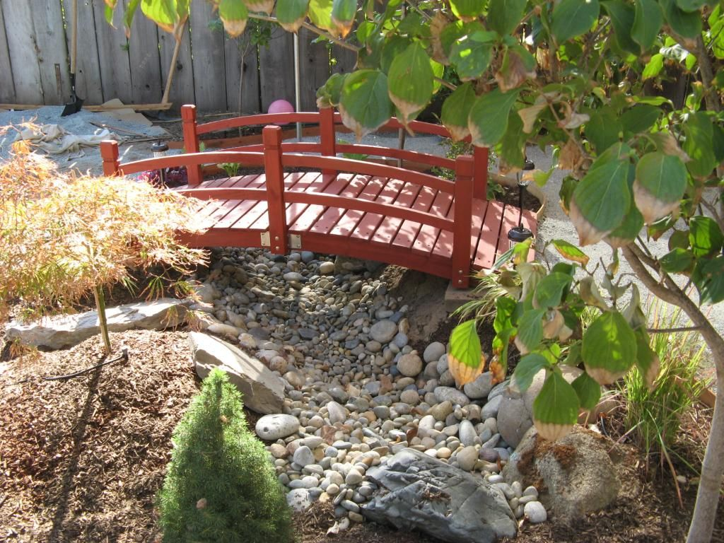Red Japanese Garden Bridge paint a bridge red & create a dry river bed for this japanese