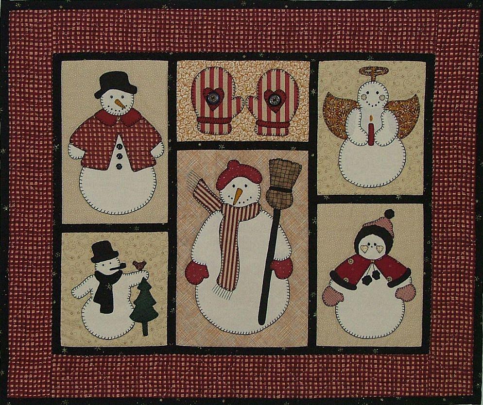 Free Snowman Applique Patterns   In this wall quilt, the snowmen ... : snowman quilts - Adamdwight.com