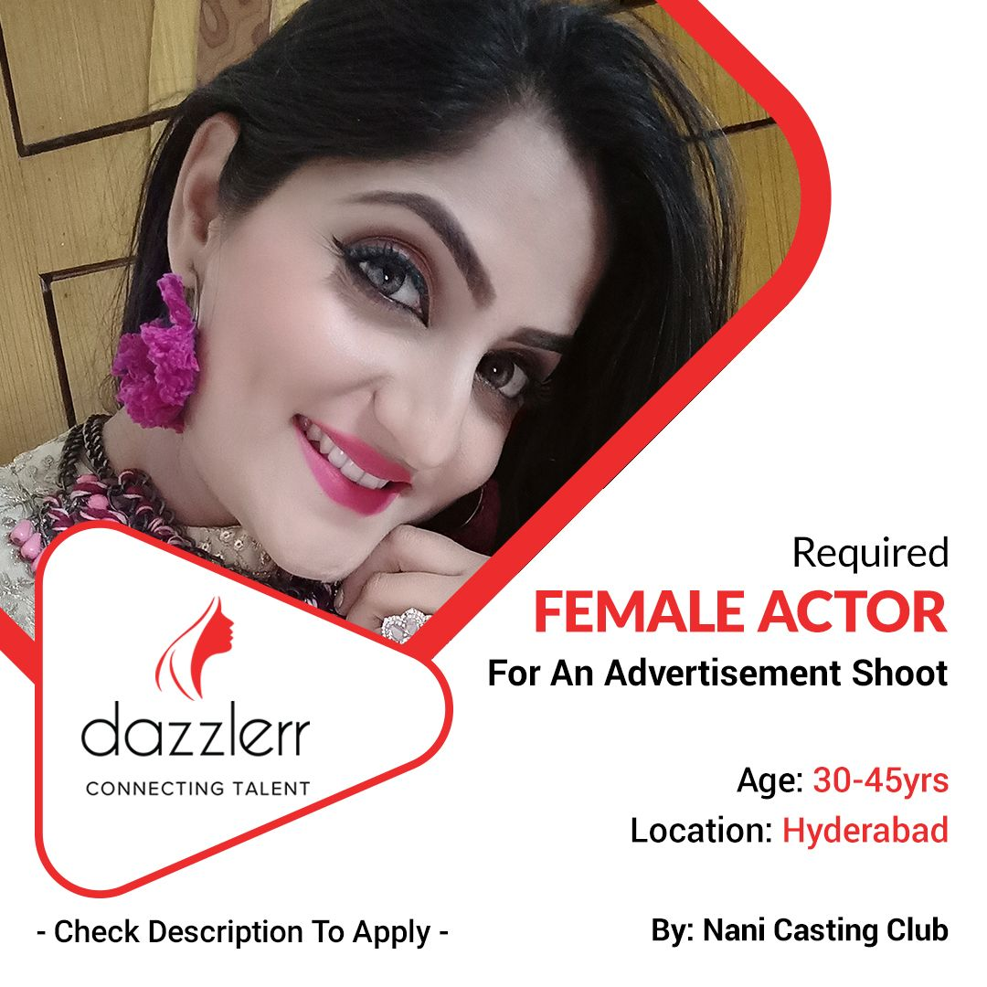 For An Advertisement Shoot Female Actor As Mother Required