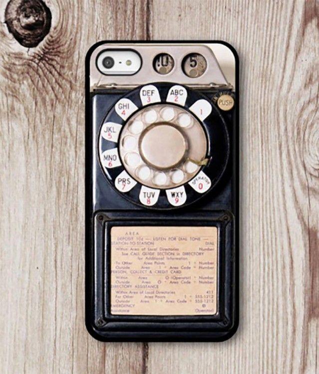 0b9e43301 Funda de celular para iphone con un diseño de teléfono antiguo que para  marcar se rodaba