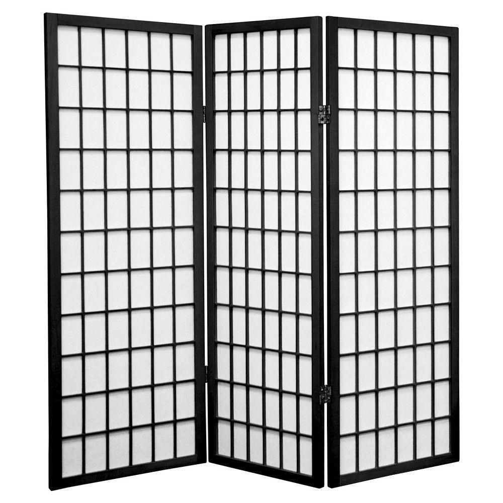 4 Ft Tall Window Pane Shoji Screen Black 3 Panels Shoji Screen Oriental Furniture Panel Room Divider