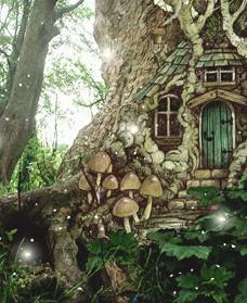 Enchanted Fairy Double Door Stone Front w//oak planks Garden Fantasy Collection