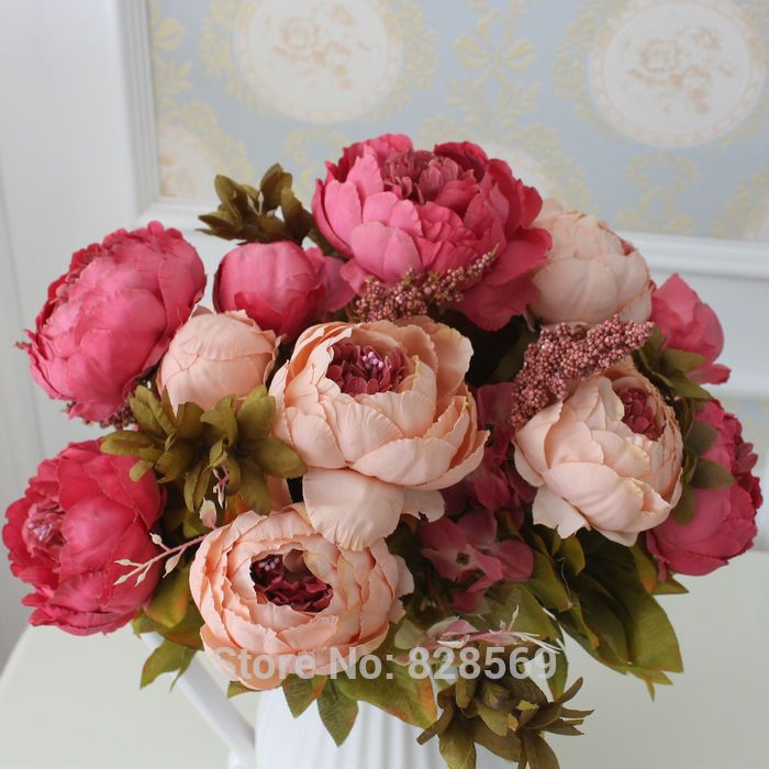 Artificial Flower Silk Peony Flower Bouquet Necessaries Wedding Vintage Decor us