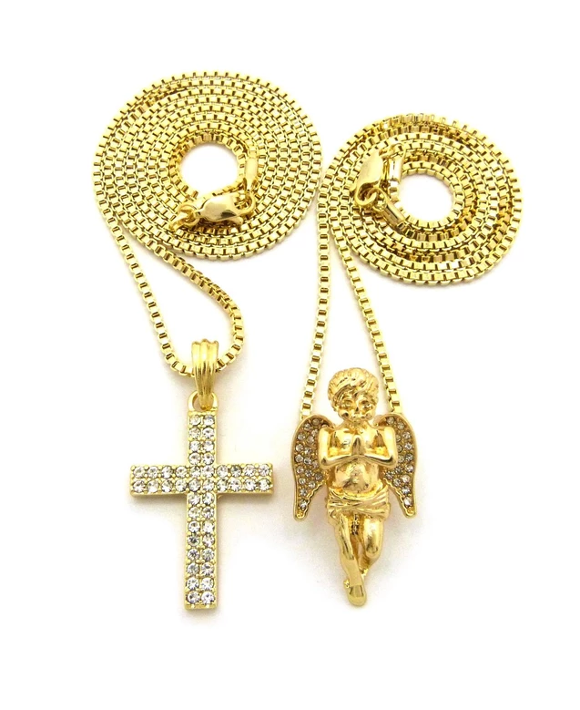 """Luv Pendant 20/"""",24/"""" Various Chain 3 Necklace set Hip Hop Iced Out Ankh Cross"""