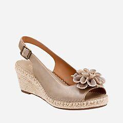 2de950977c4 Petrina Bianca Champagne Metallic Leather - Womens Wedge Sandals - Clarks® Shoes  Official Site