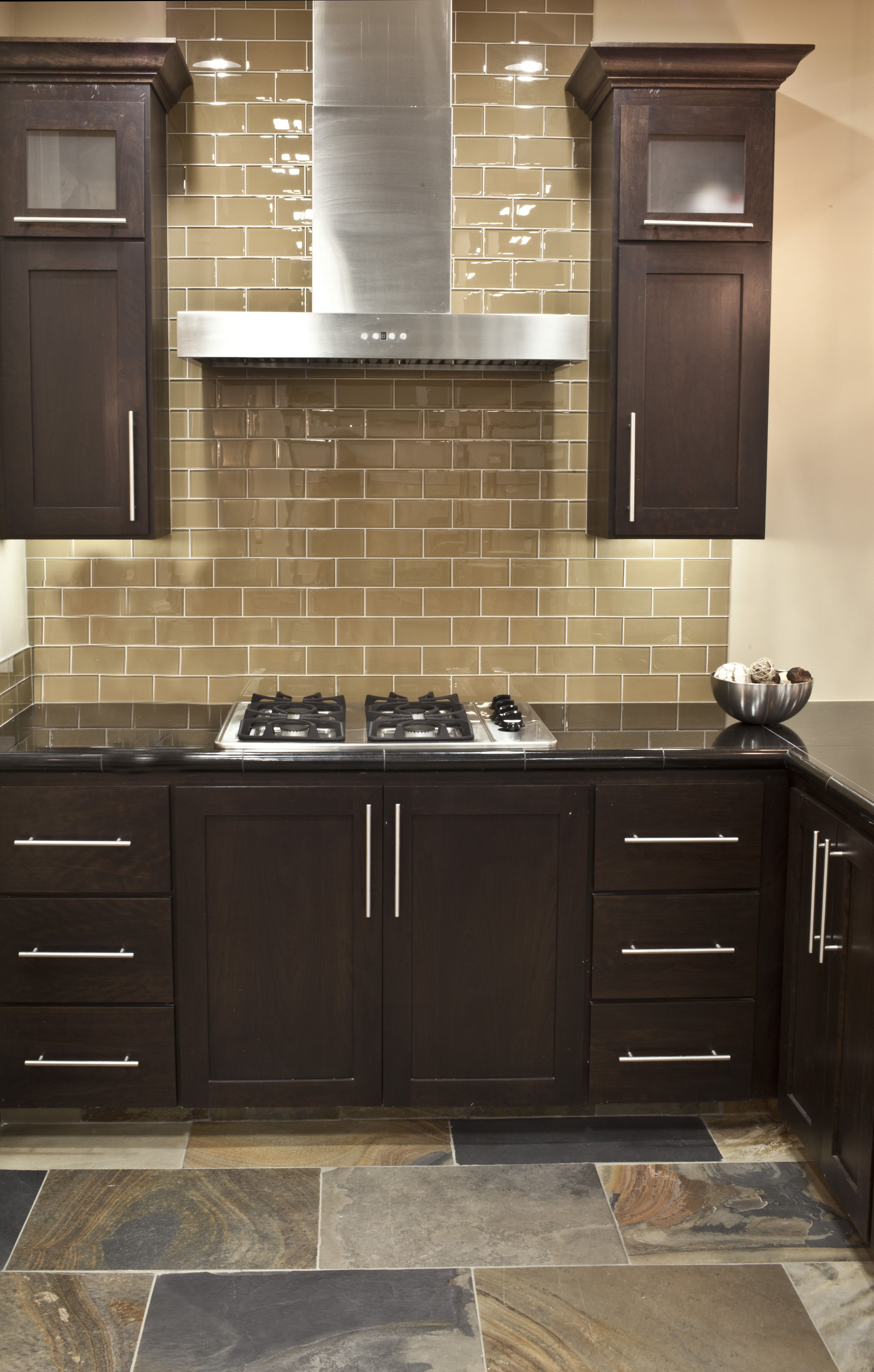 kitchen backsplash glass tile dark cabinets. **TILE IDEA**Champagne Glass Subway Tile Backsplash...Found At Http://www.subwaytileoutlet.com/ Kitchen Backsplash Dark Cabinets B
