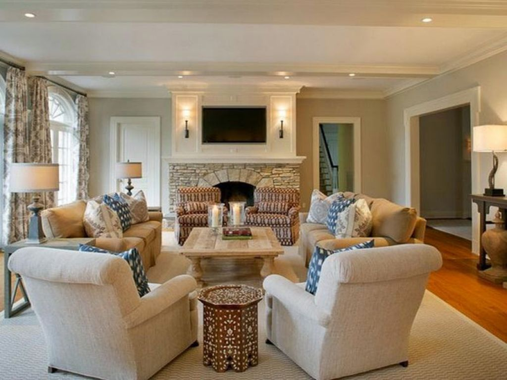 Beau Formal Living Room Layout With Upholstered Seating And Fireplace Under Wall  Mounted TV