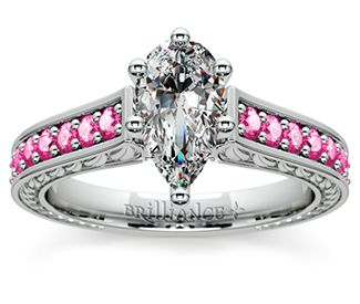 Pear Antique Pink Sapphire Gemstone Engagement Ring in Platinum  http://www.brilliance.com/engagement-rings/antique-pink-sapphire-gemstone-ring-platinum