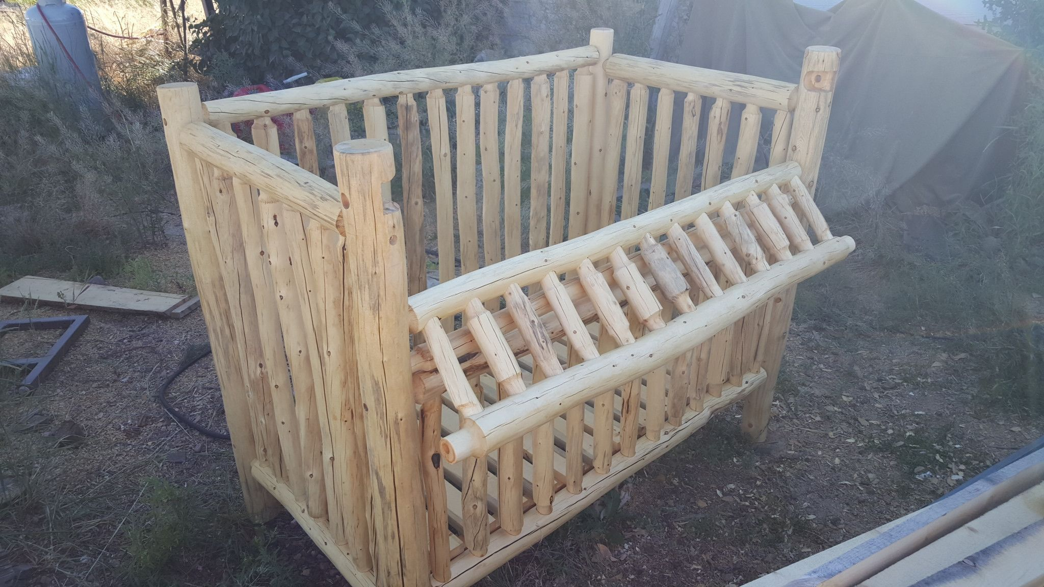 The Rustic Handmade log nursery Convertable