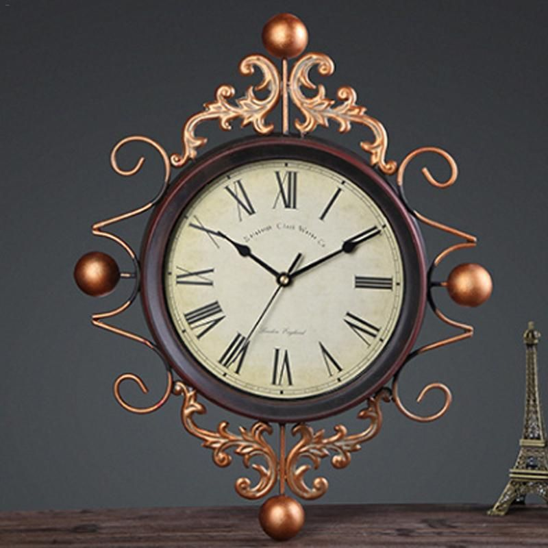 Innovative Mediterranean Style Vintage Wrought Iron Wall Clock Living Room Decoration European Elegant Mute Clock Wall Clocks Living Room Wall Clock Clock
