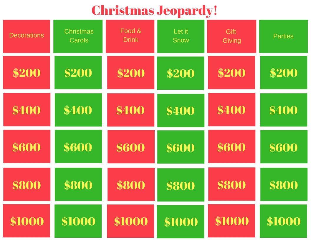 Christmas Jeopardy - Printable Game, Classroom Game, Family Game ...
