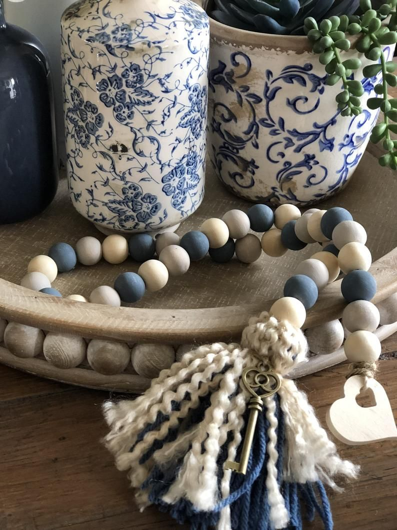 Farmhouse Beads Wood Bead Garland Beaded Garland C...
