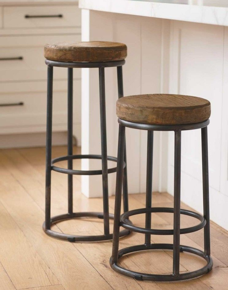 Modern Rustic Bar Stools Furniture With Wooden Round For Seating Featuring Wrought Iron Leg