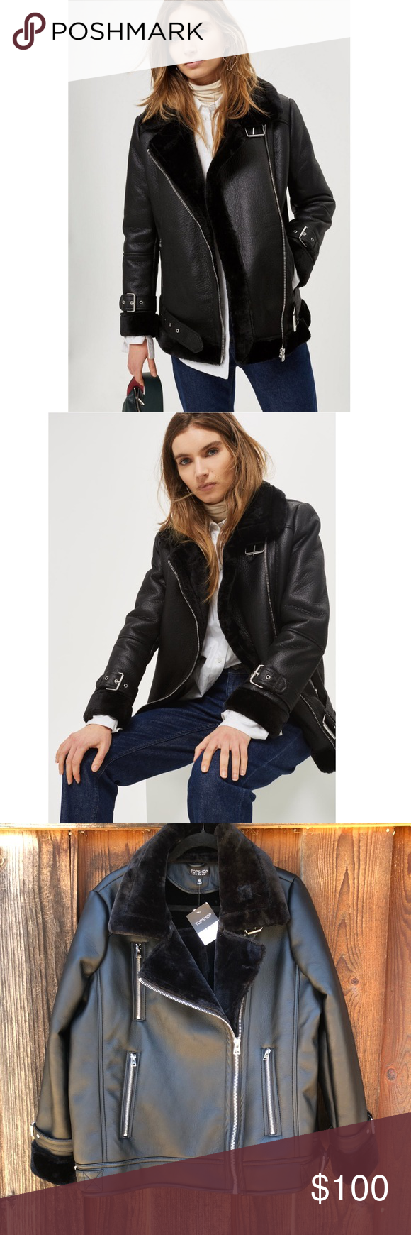 Faux Shearling Biker Moto Jacket NWT (With images