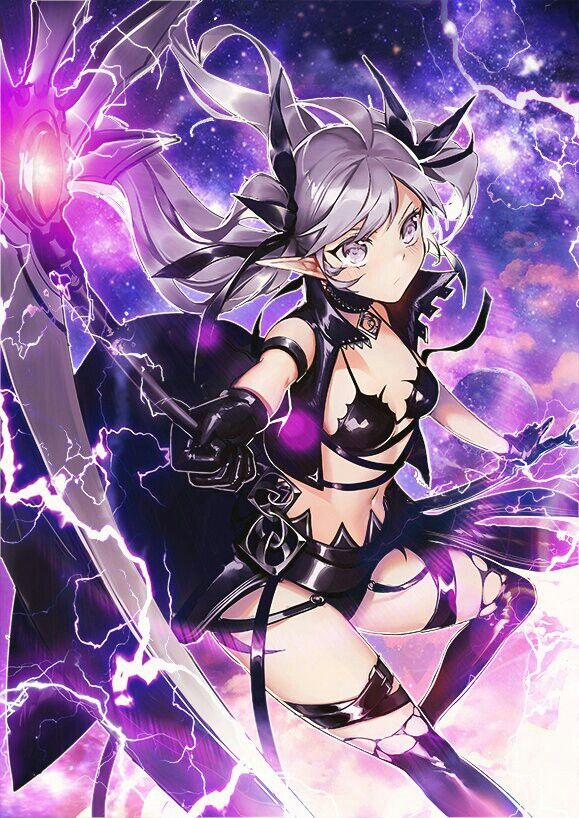 Anime Characters Use Lightning : Anime girl purple scythe eletricity lightning