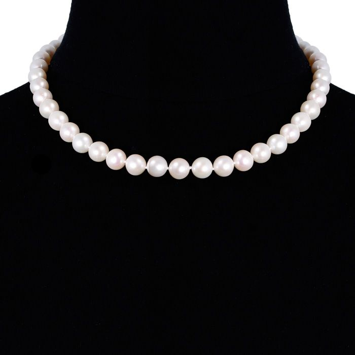 cc0aceb101c50 17 Inch 12mm AA Hand Knotted Pearl Necklace, 14k Yellow Gold Clasp ...