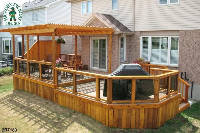 Canopie Pergola Design | ... level deck with a pergola and an integrated  privacy - Canopie Pergola Design Level Deck With A Pergola And An