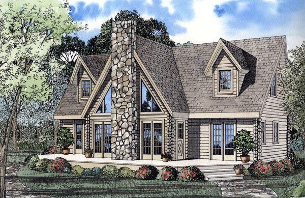 Elevation Of Contemporary Log House Plan 61105 Log Home Plans Lake House Plans House Plans