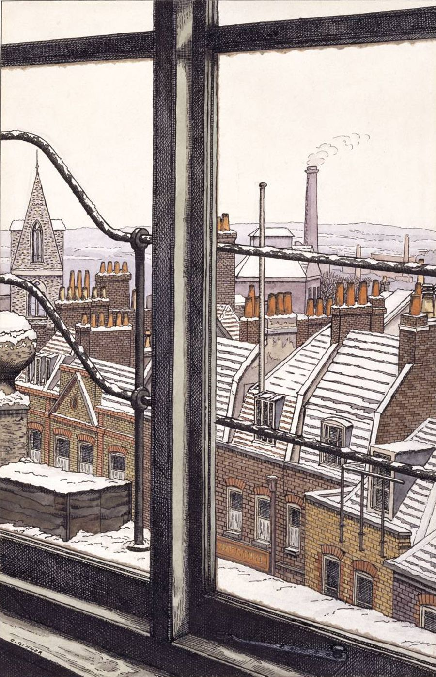 'From a Hampstead Window' ― ink, watercolour and graphite on paper by Charles Ginner (1923). #PaintedLondon