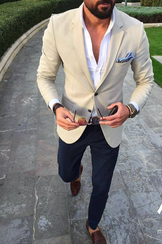 a classic yet modern look with navy pants, a white shirt