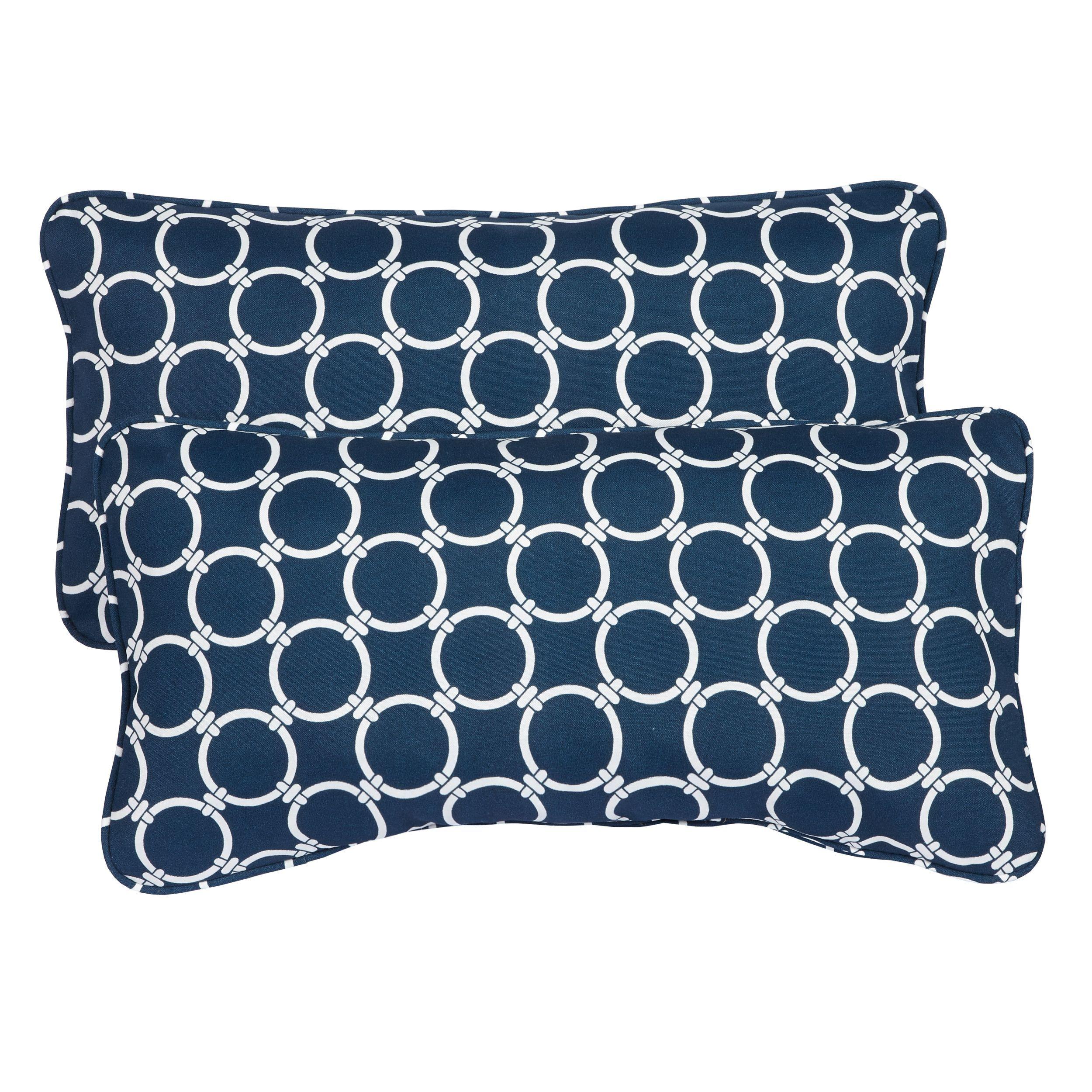 Links Navy Corded 12 X 24 Inch Indoor Outdoor Lumbar Pillows