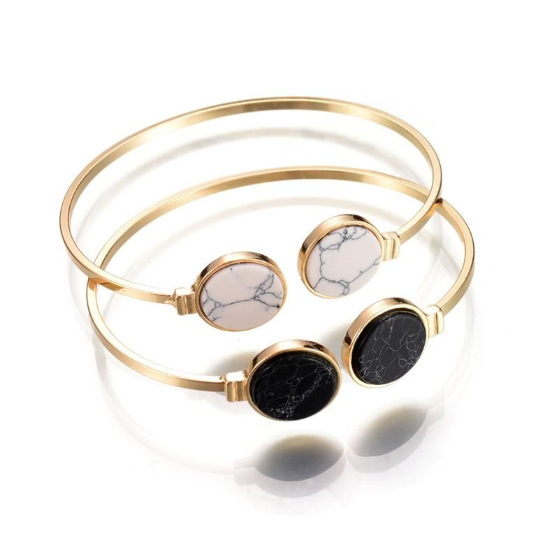New Fashion Gold Color Black White Geometry Open Bracelets ...