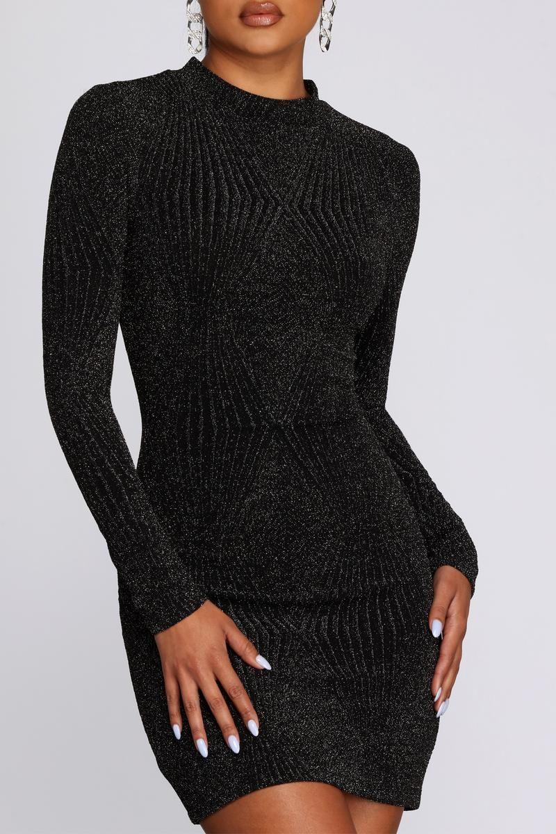 Diamond Lady Mock Neck Mini Dress Black Long Sleeve Dress Long Sleeve Cocktail Dress Black Long Sleeve Mini Dress [ 1200 x 800 Pixel ]