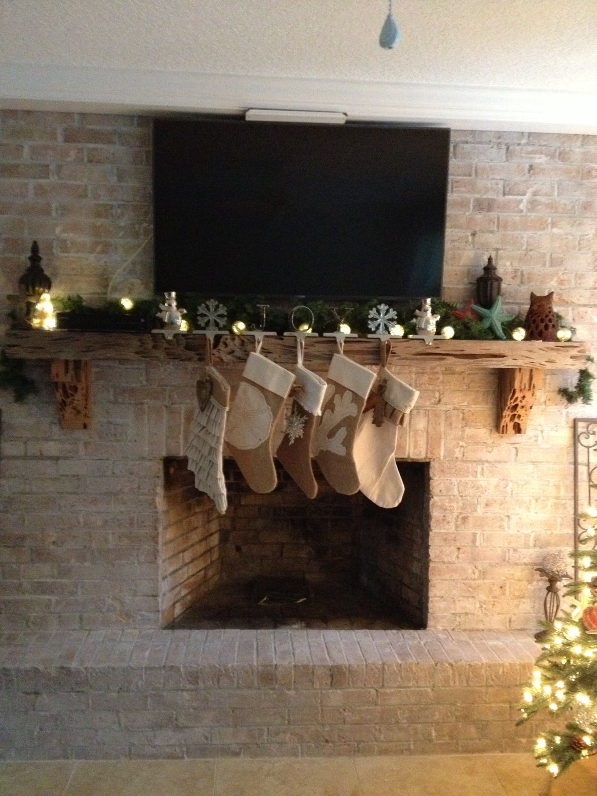 My Beautiful Whitewashed Brick And Pecky Cypress Mantle All Decked