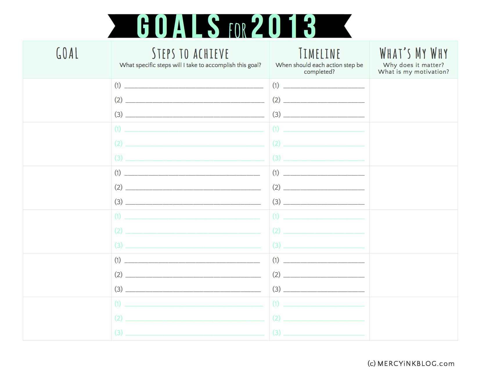 Worksheets Free Goal Setting Worksheet vision and goal setting in 2013 free printable planning worksheet