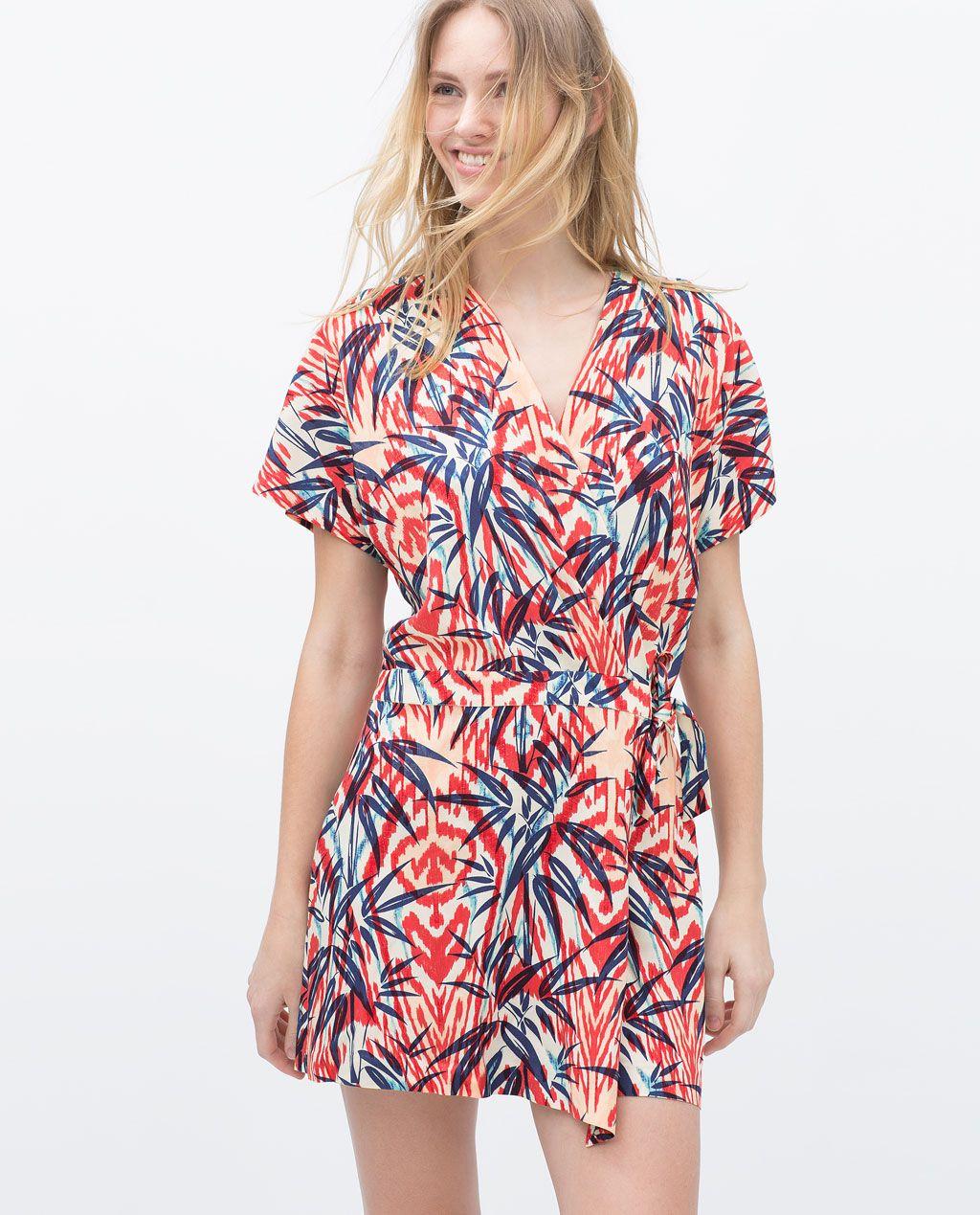 Imagen 2 de VESTIDO CRUZADO PALMERAS de Zara | outfits | Pinterest ...