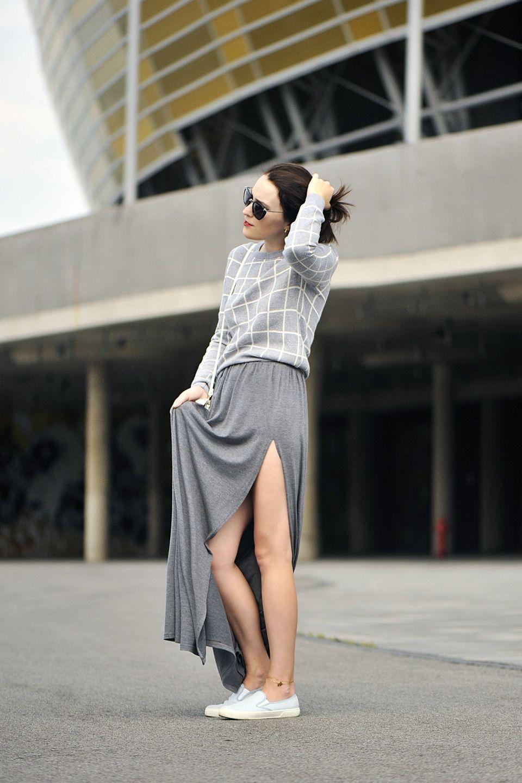 Szara Dluga Spodnica Grey Maxi Skirts Long Skirt Outfits Skirts