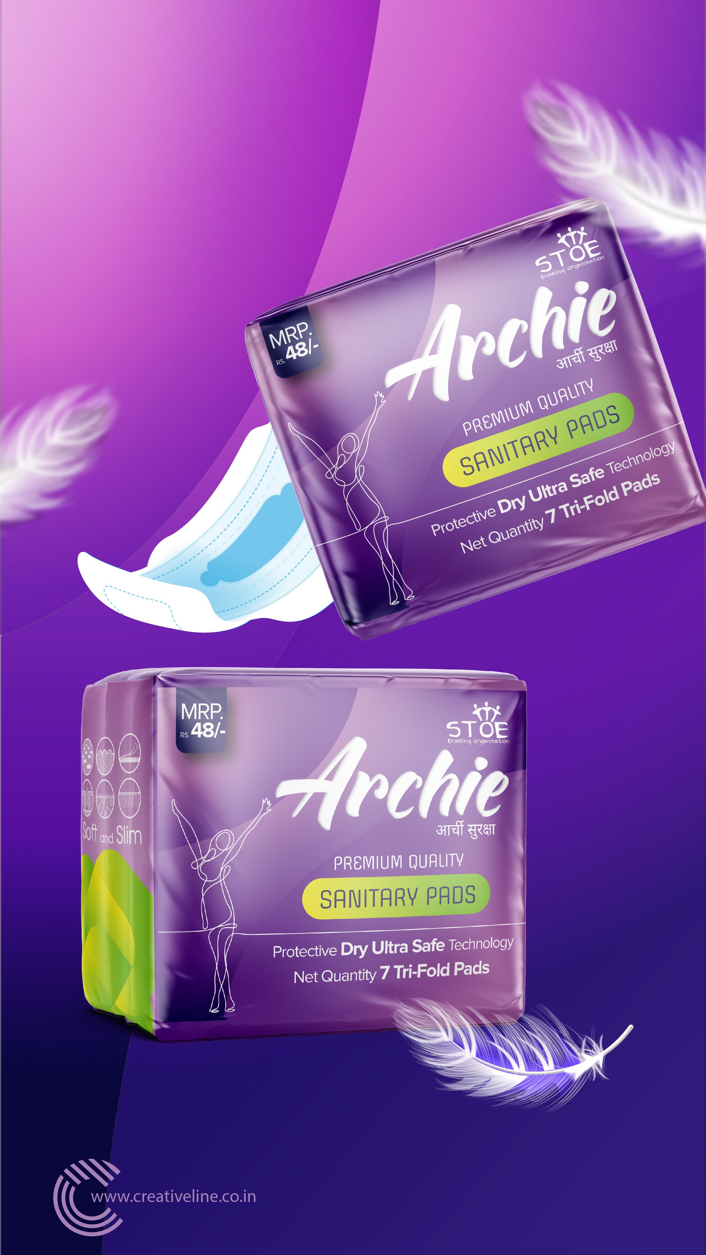 Archie Sanitary Pads Packaging design Sanitary pads