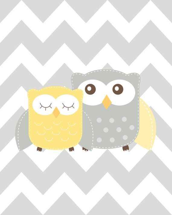 Nursery Art Trio Nursery Owl Art Grey and Yellow by ChicWallArt ...