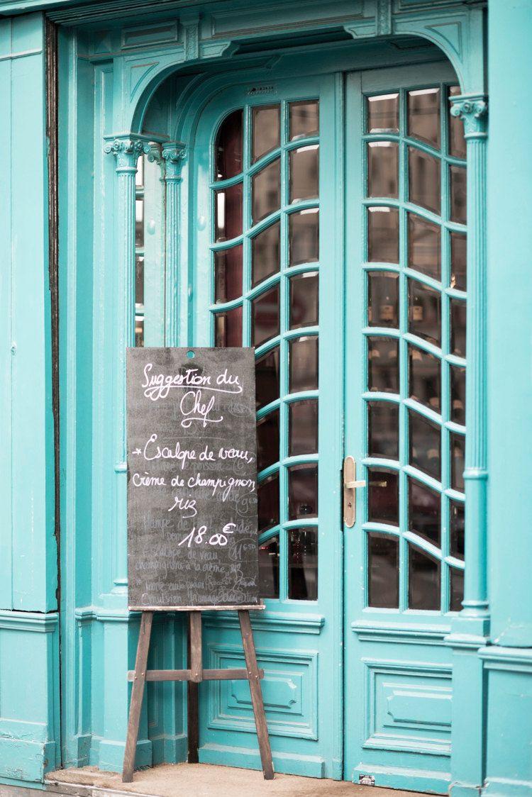Paris fine art photography teal cafe door with chalkboard menu