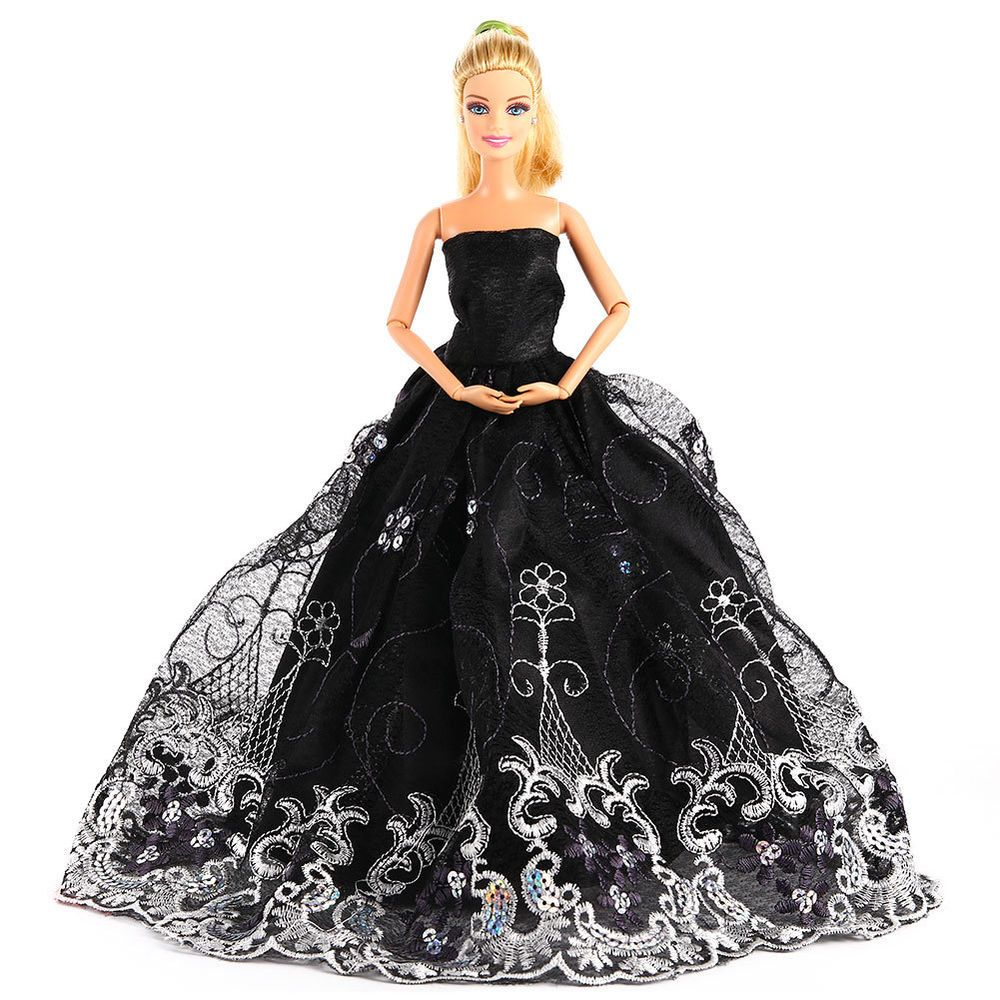 Elegant Wedding Party Dress Clothes Embroidery Lace Gown For Barbie Doll Black #Unbranded