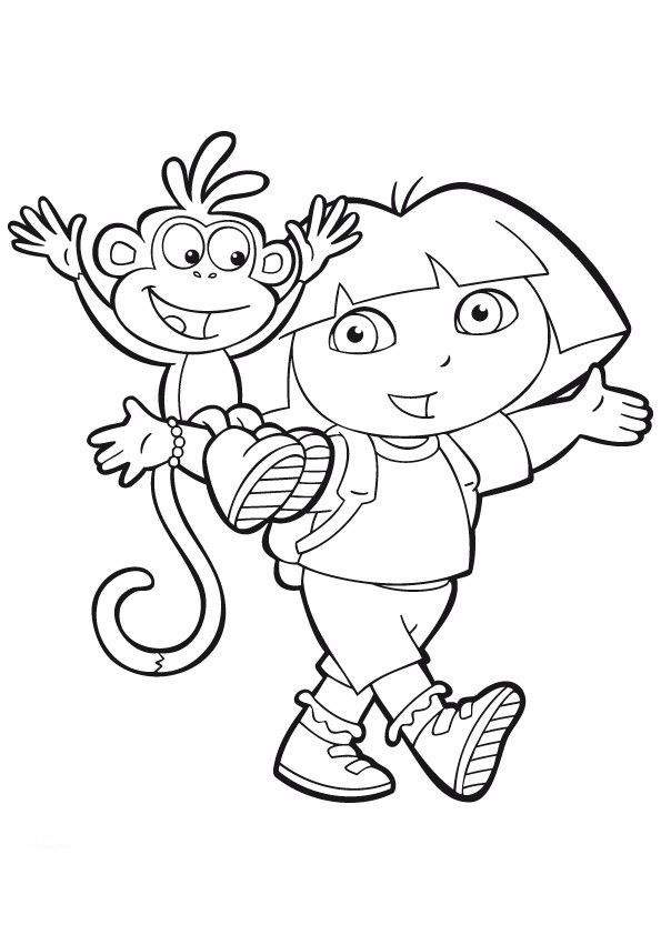 Dora The Explorer Boots Sitting On Shoulders Of Coloring Pages For Kids Printable