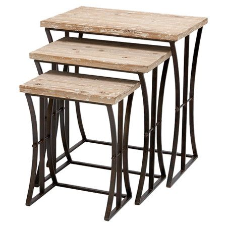 3 Openwork Metal Nesting Tables With Reclaimed Wood Tops. Product: Small,  Medium And