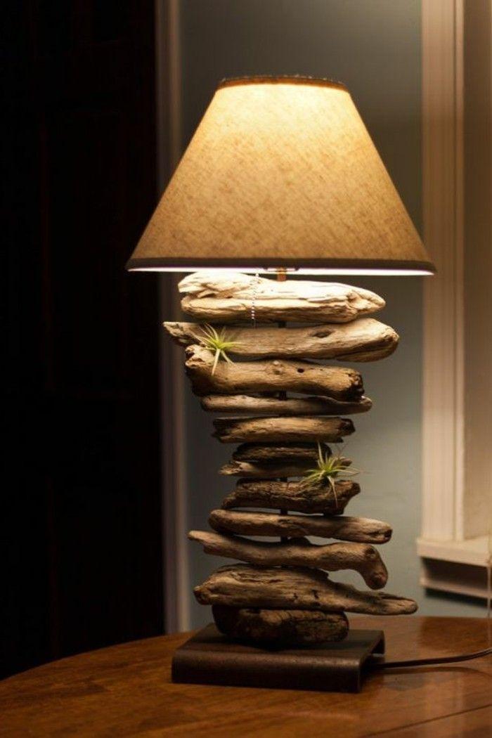 stehlampe aus treibholz lampenschirm gruene pflanzen hoelzerner - lampen fürs wohnzimmer