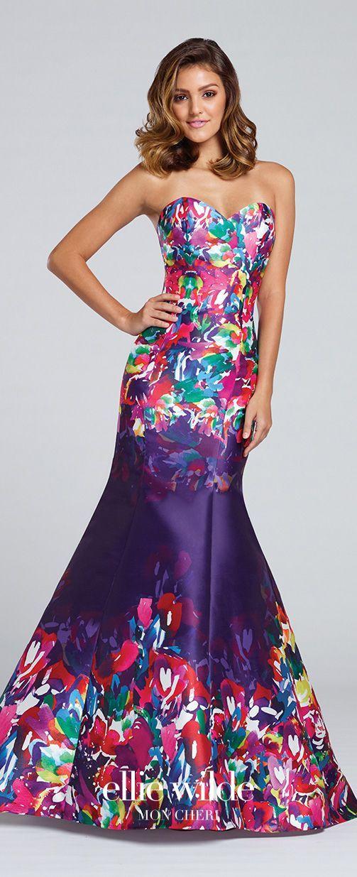 Prom Dresses 2017 - Ellie Wilde for Mon Cheri - Purple Floral ...