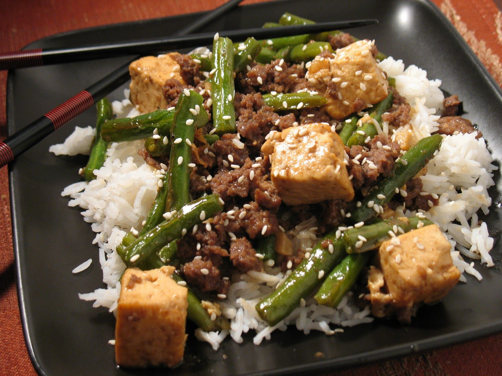 Ground Bison Green Beans Swap White Rice For Brown Or Quinoa Rice Add A Little Low Sodium Bison Recipes Ground Bison Recipes Healthy Ground Bison Recipes