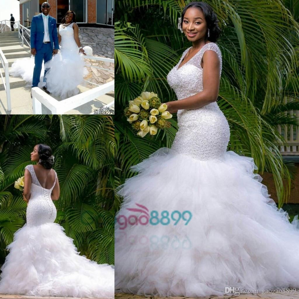 Sexy African Mermaid Country Wedding Dresses With Ruffles Skirt: Ruffled Country Wedding Dresses At Websimilar.org