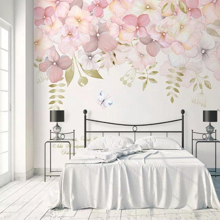 Watercolor Pink Flowers Wallpaper Wall Mural, Hanging Branch Floral Wall Murals Wallpaper, Wallpaper #makkari