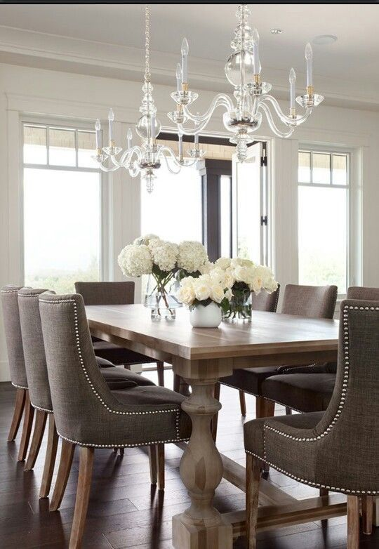 The Elegant Abode LI Dining Room Glam Crystal Chandelier Walnut Table Upholstered Chairs Nailheads Silk Drapery Dam