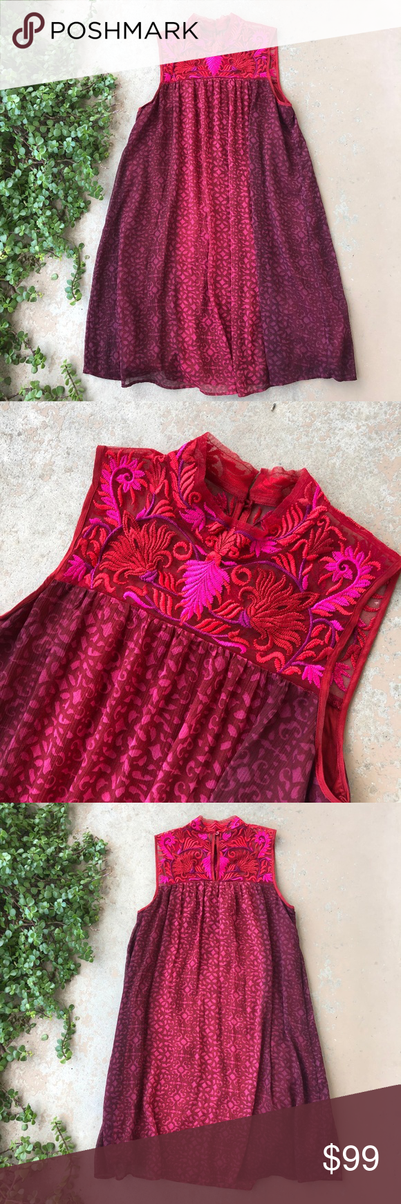 cffad6ecac939 Niki Mahajan Anthropologie Amara Swing Dress Features: Embroidered floral  neckline, ombre red pattern,