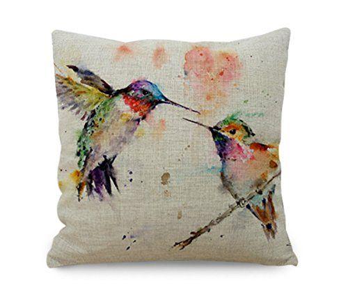 Amybria Oil Painting Linen Hummingbird Throw Pillow Case Sofa Cushion Cover Home Decor Gift: Amazon