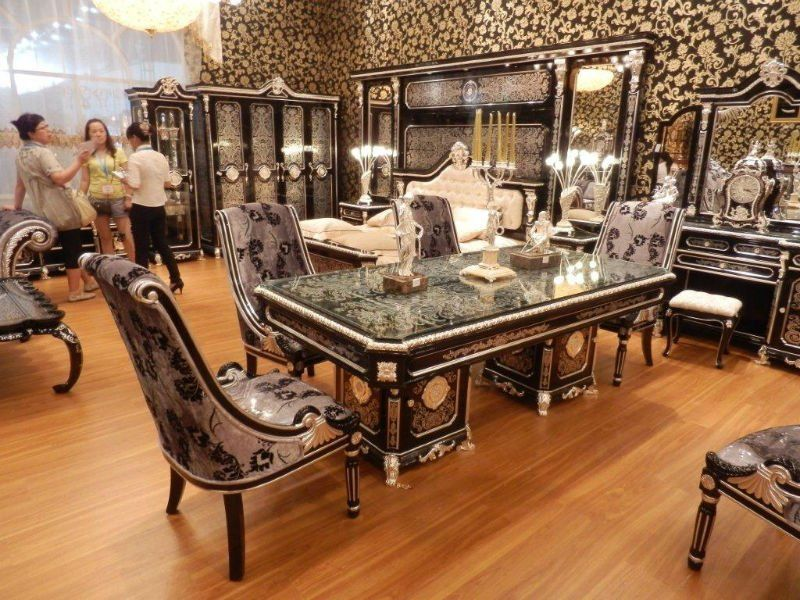 New Item  Luxury Blacku0026 Silver Plated Colour New European Style Dining Room  Furniture Set(